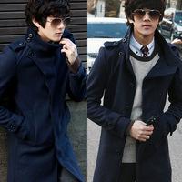 2014 New Arrival Korea Style Thicken Cotton Mens Windbreaker Tide woolen coat jacket wool coat collar single-breasted