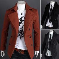 2014 New Arrival Korea Style Thicken Cotton Mens Windbreaker Casual double-breasted woolen coat woolen coat jacket men