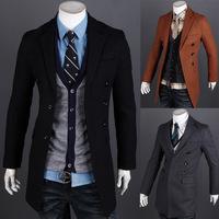 2014 New Arrival Korea Style Thicken Cotton Mens Windbreaker Slim and long sections woolen coat windbreaker jacket fashion