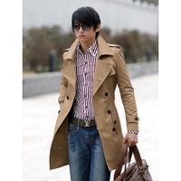 2014 New Arrival Korea Style Thicken Cotton Mens Windbreaker Plus thick velvet long double-breasted Korean Slim  windbreaker