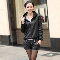 14107 new genuine sheep leather jacket hood decoration coat windbreak lamb leather blazer overcoat ladies' dress sport jacket