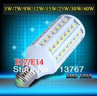 50% off 1pcs/lot led corn bulb SMD 5050 E27 E14 5w 7w 9w 12w 15w 25w 30w 40w 220V-240V led Lamps free shipping