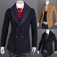 2014 New Arrival Korea Style Thicken Cotton Mens Windbreake Fashion woolen coat and long sections windbreaker tide  gentleman