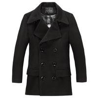 2014 New Arrival Korea Style Thicken Cotton Mens WindbreakerLong double-breasted woolen coat jacket men's British  windbreaker