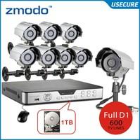 Zmodo 600TVL security camera system with 8ch D1 recording dvr system video surveillance Cameras cctv dvr kit with hdd