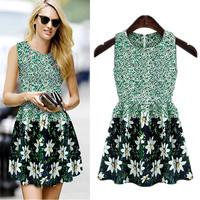 Fashion 2014 Women Green Chiffon Tank Dress Sleeveless Sweet Princess Korean Floral Print Vintage Dress  For lady
