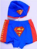Top Character Superman swimsuits boys swimsuit Cute 2014 Brand New kids cartoon swimwear boy swim shorts nylon fabric swimming