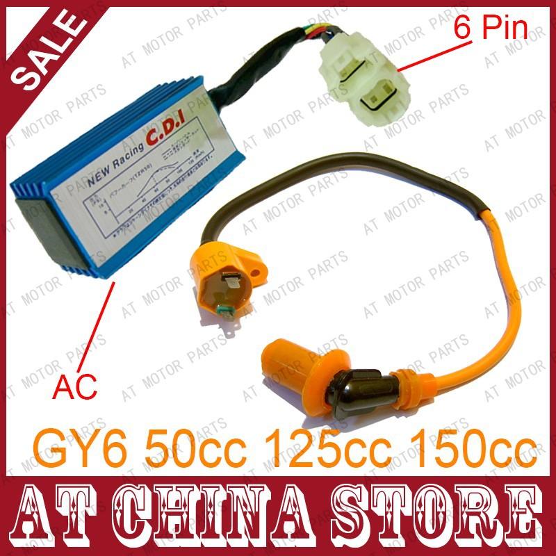 High Performance 6 pin AC Racing CDI Box + Ignition Coil For GY6 50cc 125cc 150cc 139QMB 152QMI 157QMJ Scooter Moped ATV(China (Mainland))