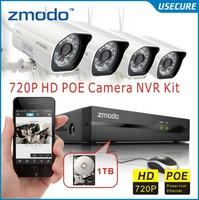 Zmodo cctv 4CH 720P POE NVR System with 720P Indoor Outdoor network IP Cameras video Surveillance Cameras system POE onvif 2.0