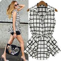 Fashion Slim Waist Black Stripe Plaid Dress Women Chiffon Sleeveless Tank Dress Brand Design
