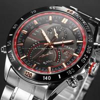 Curren Vogue Quartz Hour Date Clock Sport Mens Watch Silver Stainless Steel Wristwatch Gift