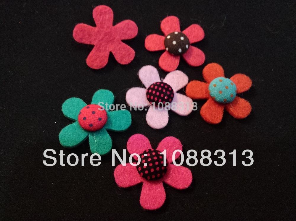 Flat 3CM handmade wool felt dots DIY flowers for jewelry baby headwear headband.Free shipping 50pcs mix colors fabric patches.(China (Mainland))