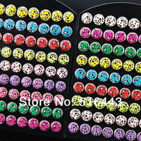 Mix Color Wholesale Fashion Jewelry 216pcs Enamel Stainless steel Women Mens Round Leapord Stud Earrings A-419