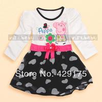 Retail NEW 2014 children's spring summer dress kid peppa pig princess dress girl long sleeve love heart bowknot dress