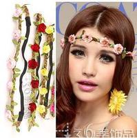 B081 Bohemian national wind ribbon Korean seaside beach flower hair hoop head hoop headband hair accessories