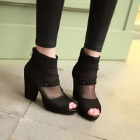 2014 summer fashion sandals cutout gauze open toe high-heeled shoes sexy thick heel platform women's shoes