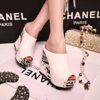 Summer wedges sandals fashion sexy ultra high heels open toe platform color block fashion slippers female