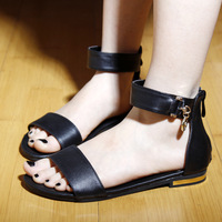 2013 flat heel sandals comfortable genuine leather flat female shoes