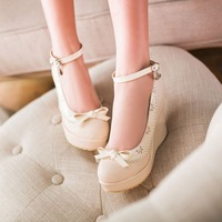 Two ways hasp sweet bow high-heeled shoes spring and summer gentlewomen wedges platform shoes size 33