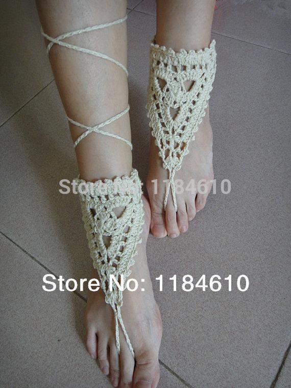 Boho Chic Wedding Shoes Jóias Praia crochet sandálias descalças favor do casamento(China (Mainland))