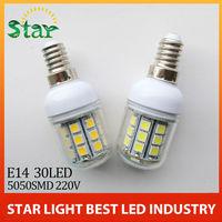 1X  e14 corn 2014 NEW Ultra Brightness LED lamps E27 5050 30LEDs 110v-220v High Quality Chip 5050 SMD Corn LED Bulbs 5.5W light