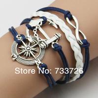 Anchor Rudder leather love owl charm handmade bracelet friendship bangles jewelry