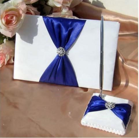 Free ShippingWedding Favors Wedding Party blue k bow rhinestone design Wedding Guest Books & Pen Sets(2pcs)(China (Mainland))