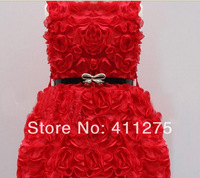 retail girls summer roses flowers belt dress children kids lovely clothing, girl red dresses