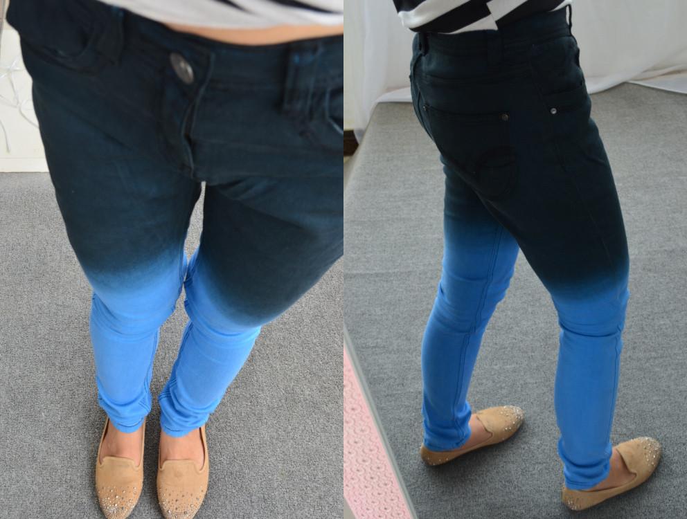 Plus size M-XXL thick gradient color block decoration female jeans slim 0 . 5kg(China (Mainland))