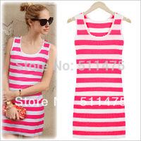 High quality women's casual milk silk sleeveless o-neck striped tank summer dress 2014 new  hot sale,winter dress
