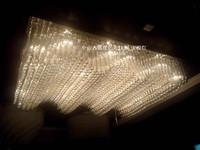 Wavy crystal lamp living room pendant light pendant light customize rectangle hotel ceiling light lamp