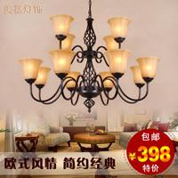 Fashion vintage pendant light double layer pendant light wrought iron living room pendant light bedroom pendant light american