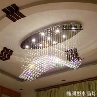 Oval shape crystal lamp wave pendant light ceiling light fitting living room lights modern brief