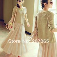 2014 New Large Size Free Shipping Thin Sweater Tops+ Vest Dress,Maxi Dress size M,L,XL