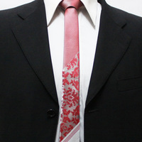 New Trend Mens Popular Classic Floral Ties For Men Slim Red With Silver Gents Original Neckties For Man 5CM F5-N-5