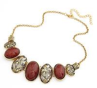 X255 gem necklace oval cutout vintage necklace female short design korea fashion gem necklace women chokers necklaces & pendants