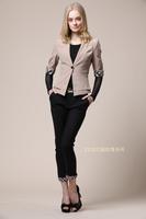 free shipping  spring fashion women's double pocket plaid sleeve blazer outerwear