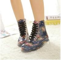 Free shipping new women rainboots 2014 Korean Women transparent crystal Martin boots