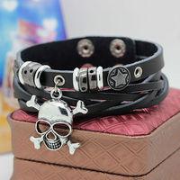 High quality,fashion new cool womens men punk skull skeleton multilayer black white cow leather bracelet & bangles,Free shipping