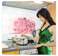 Smoke pink flower oil paste wall stickers kitchen tile aluminum oil