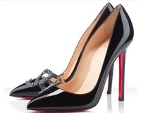 rhinestone red bottom high heels black new 2014 Women Red Bottom pumps sexy pointed-toe thin heels ladies party shoes