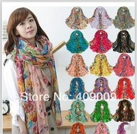 free shippig +beach scarf lady's fashion flower print scarf women head shawls wholesale