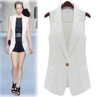 European American style women's white vest suit fall new fashion medium-long Blazer slim black Formal Suit designer coat jacket