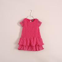 wholesale 2014 summer models both lace  dress children's clothing 6pcs/lot ye031906