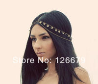 2014 New Trendy Fashion Summer Shining Round Pieces Head Chain Jewelry Hairband Pieces Headdress for Women