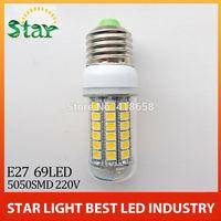 5pcs/lot 2014 new 69LEDs SMD 5050 15W E27 LED corn bulb lamp, Warm white / white,5050SMD led lighting Free Shipping