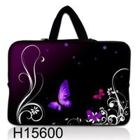 "Purple Butterfly 16"" 17"" 17.3""  17.4"" soft Neoprene Laptop Notebook Sleeve bag Case Cover Pouch Skin Protector w/hidden handle"