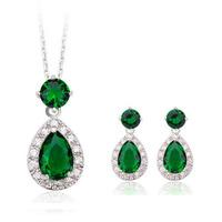 Water Drop Green Emerald AAA Cubic Zirconia Stone Indian Jewelry Set