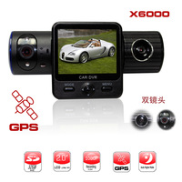 2014 new version Car Driving Camera Vehicle Dual-Cam G-Sensor GPS Logger car Black Box X6000