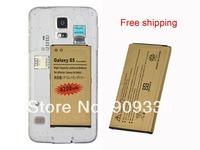 2pcs/lot For Samsung Galaxy S5 SV I9600 SM-G900T High Capacity 4350mah Gold Golden Business Li-ion Battery Free Shipping